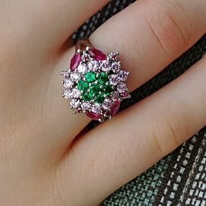 Jewelry - Tsavorite  Ruby & Pink Topaz Cocktail Ring